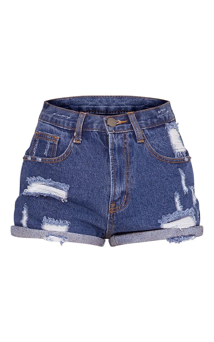 Camilla short en jean déchiré taille haute bleu 3