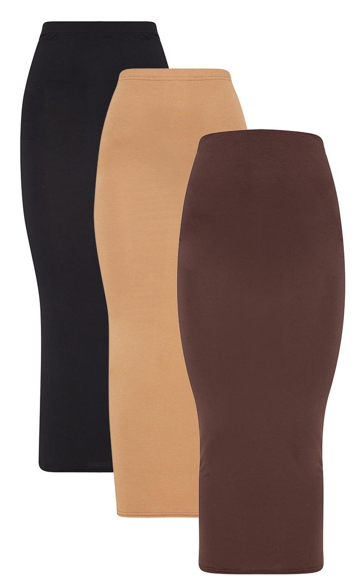 Chocolate, Black, Camel Basic Jersey Midaxi Skirt 3 Pack 3