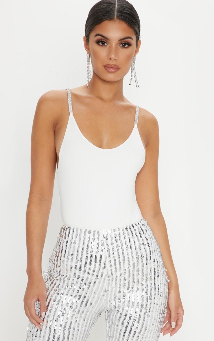 White Diamante Strappy Bodysuit 1