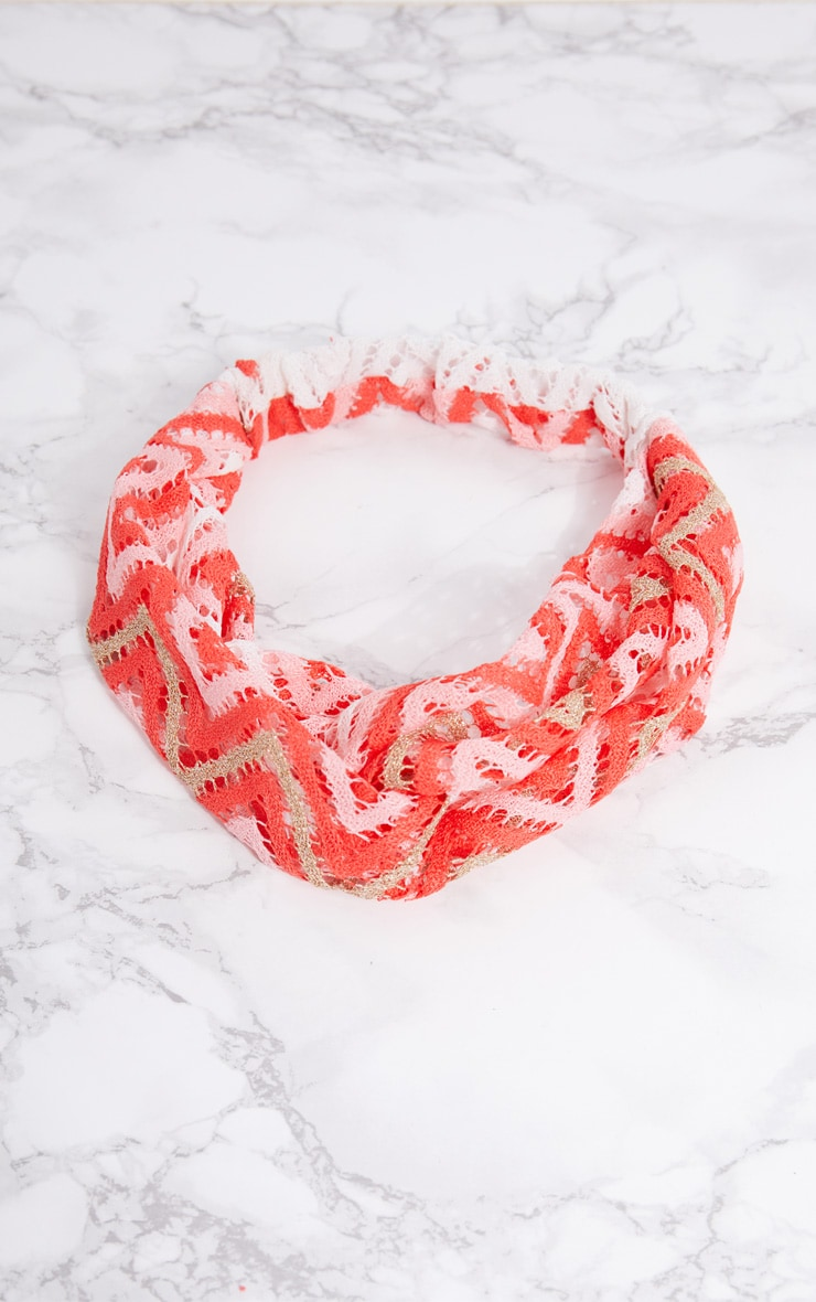 Pink Chevron Crochet Headband 4