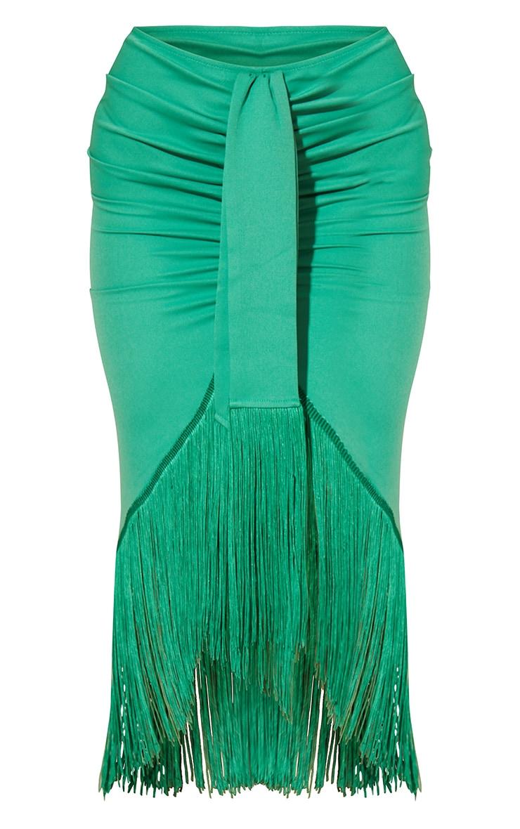 Bright Green Tassel Hem Midi Skirt 5