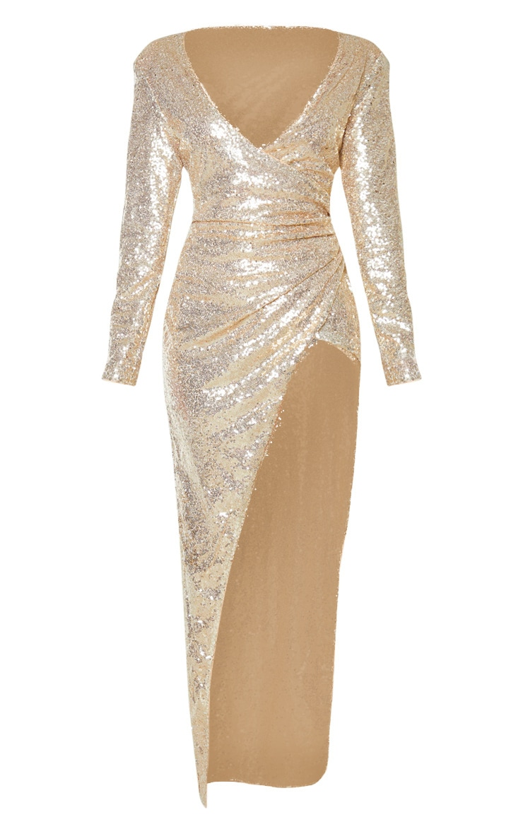Gold Sequin Long Sleeve Plunge Wrap Detail Maxi Dress 3