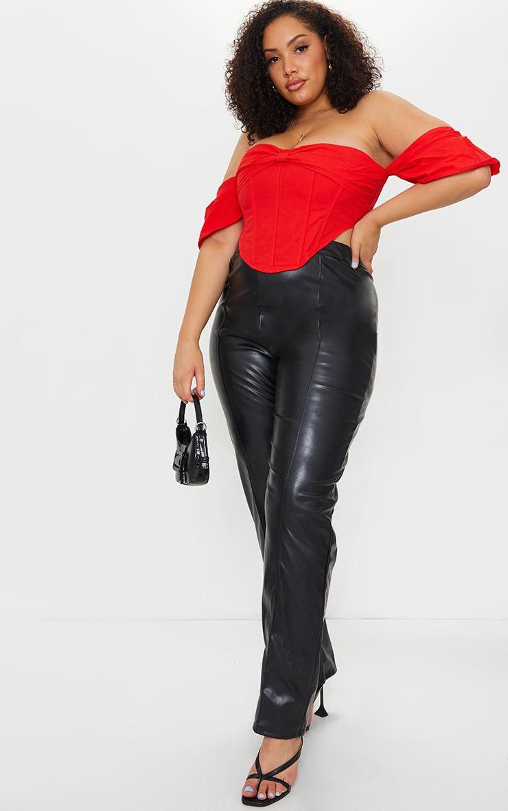 Plus Red Bardot Frill Sleeve Corset Top 1
