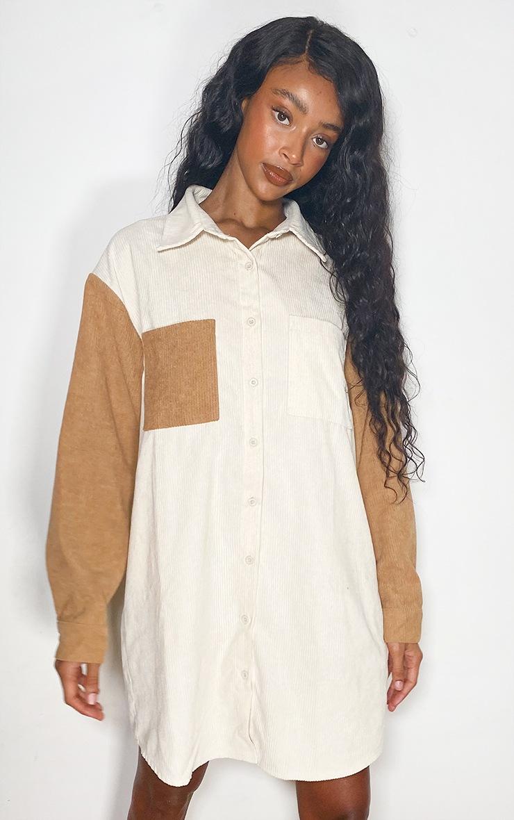 Cream Cord Pocket Front Oversized Shirt Dress 3
