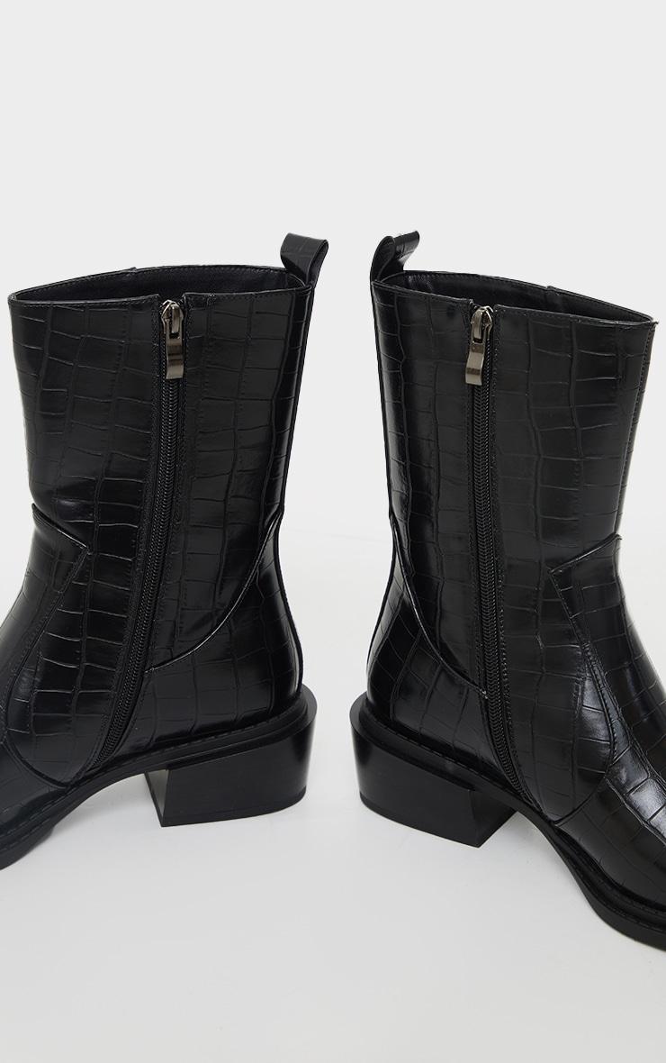 Black Matte Pu Croc Square Toe Heeled Western Boots 4