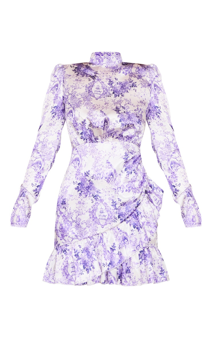 Lilac Porcelain Print High Neck Frill Detail Bodycon Dress 5