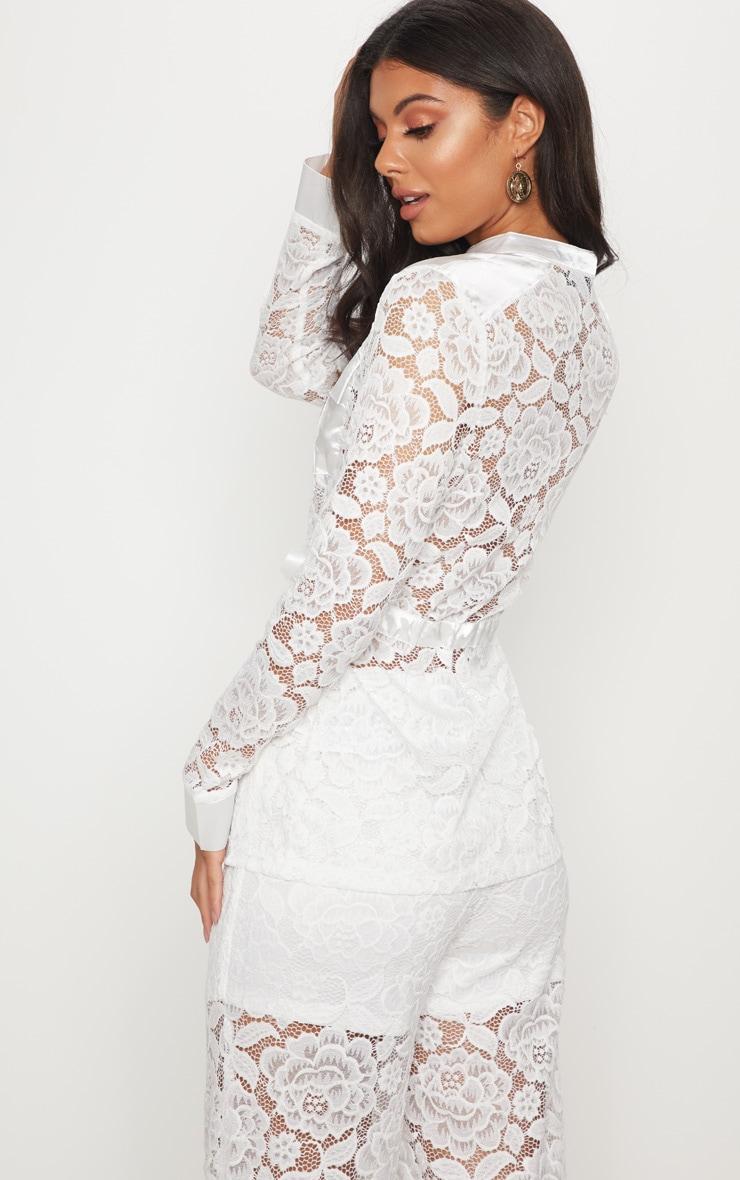White Lace Military Detail Tie Waist Shirt 2
