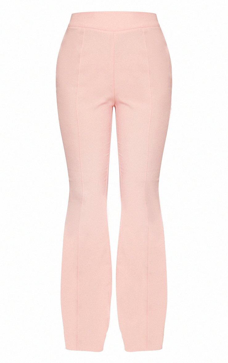 Pale Pink Woven Cut Out Detail Pintuck Flared Trousers 5