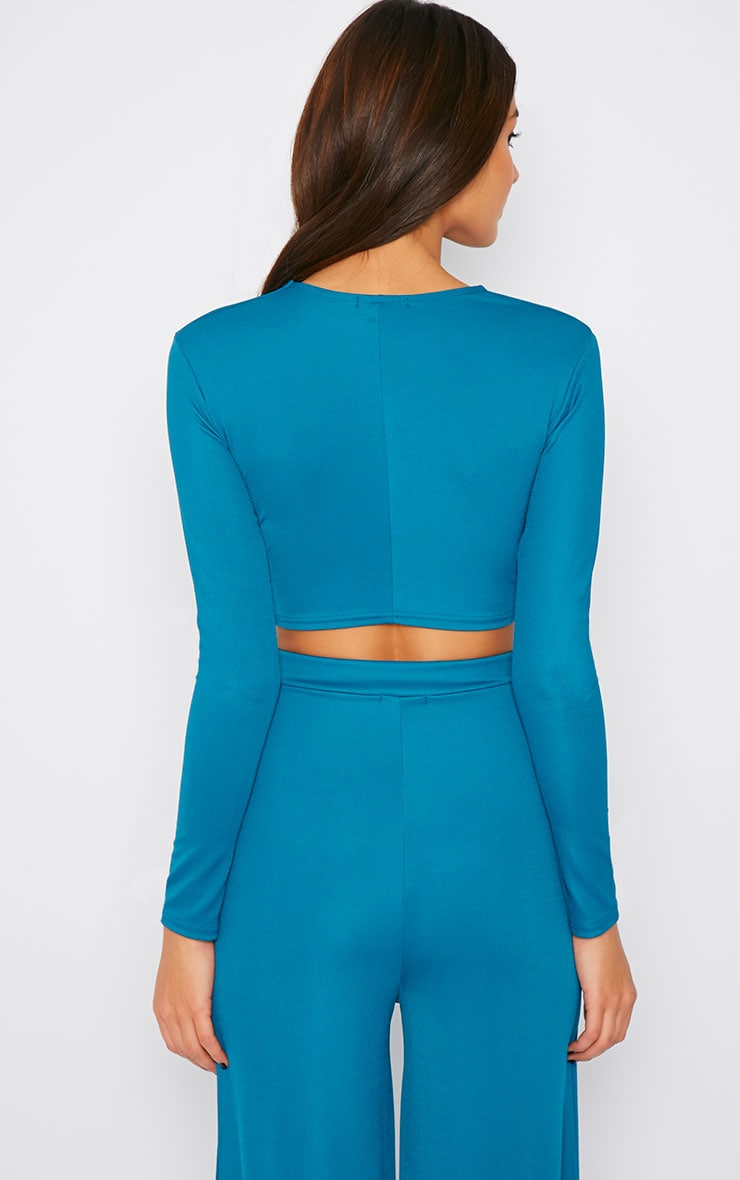 Zafia Teal Knot Front Crepe Crop Top  3