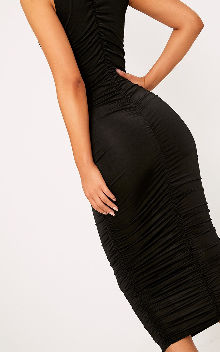 Black Sleeveless Ruched Detail Midi Dress 5