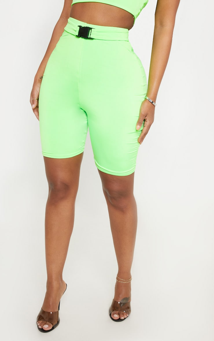 Shape Neon Lime Buckle Detail Bike Short 2