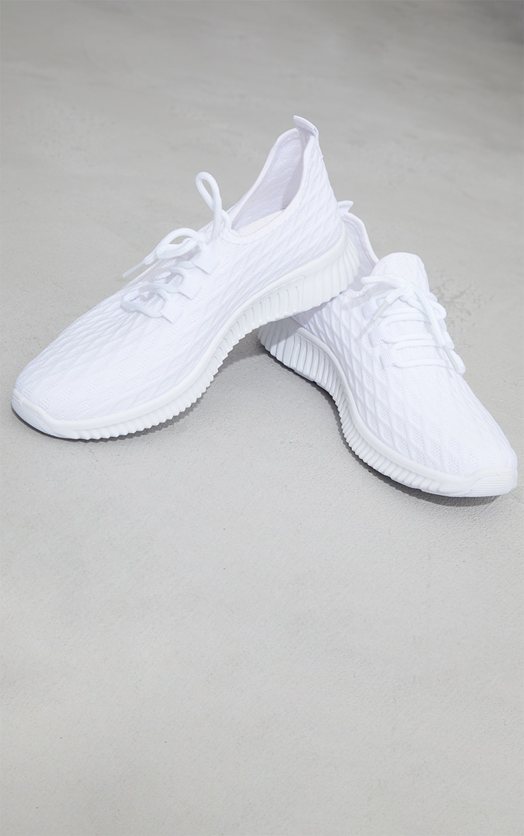 White Knitted Lace Up Sports Sneakers 3