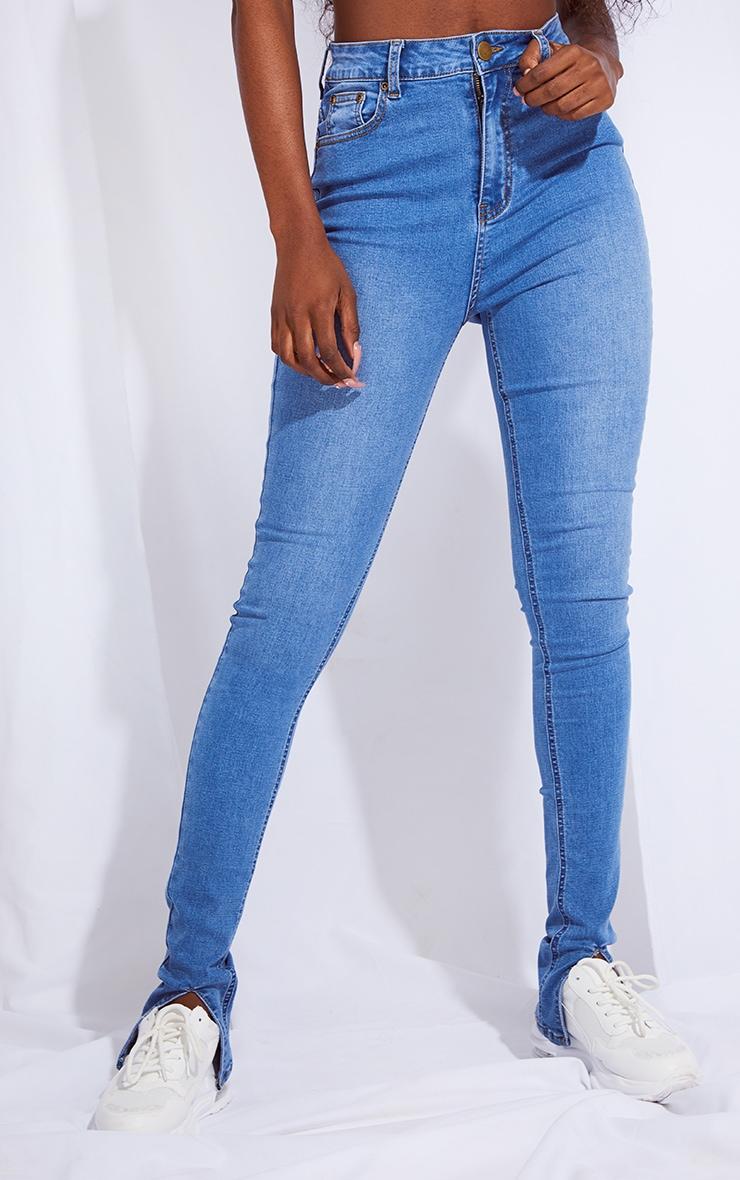 Tall Mid Blue Split Front Skinny Jeans 2