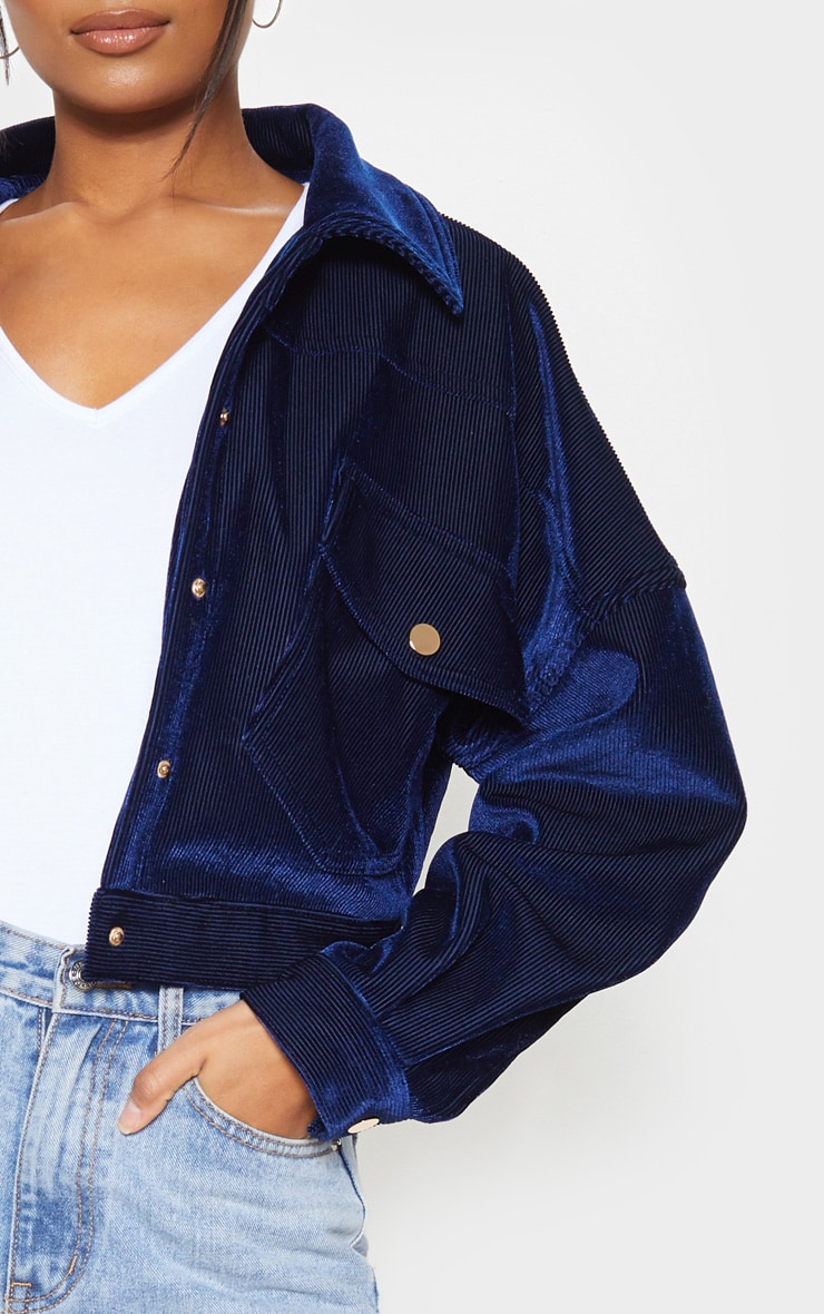 Navy Cropped Cord Oversized Trucker Jacket  5