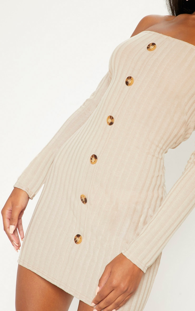 Stone Ribbed Button Detail Dress  5