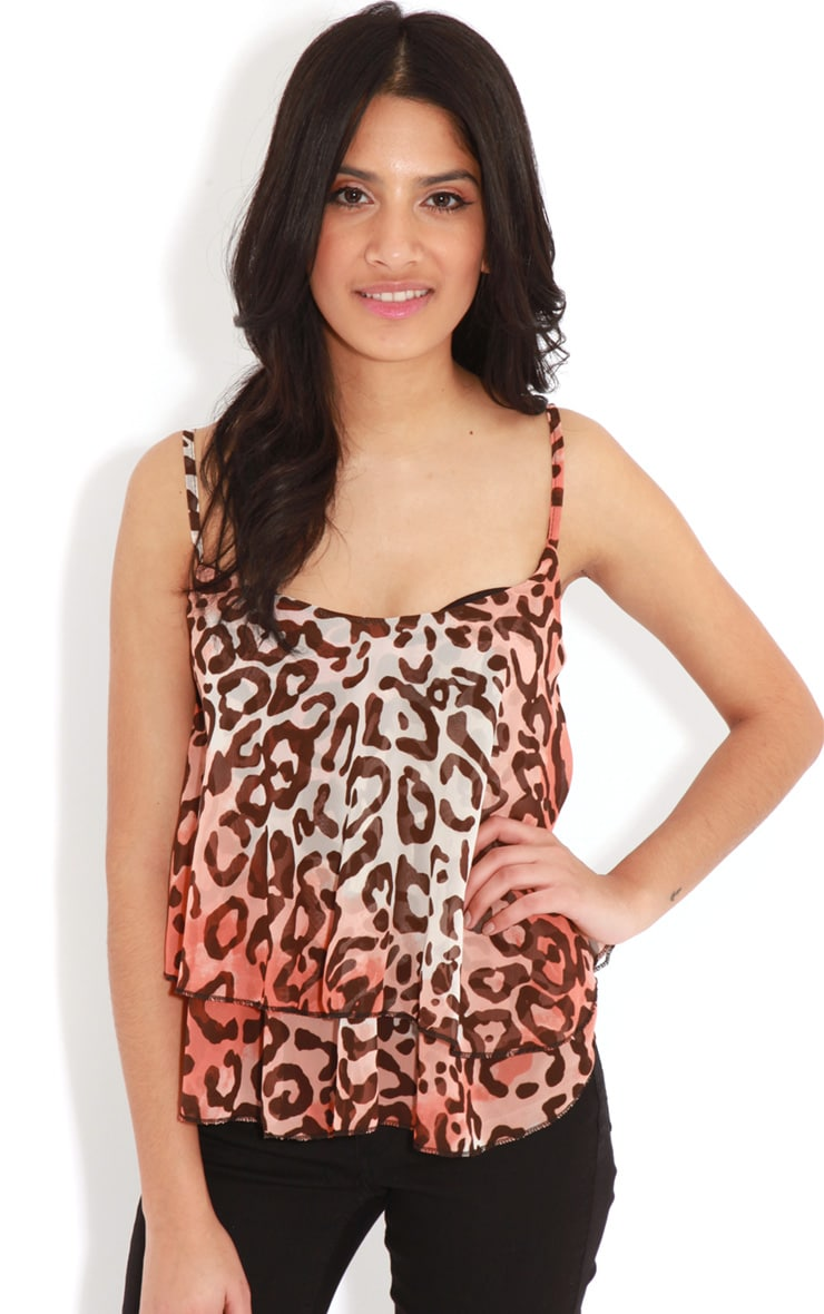 Leana Coral Swing Leopard Crop Top 1