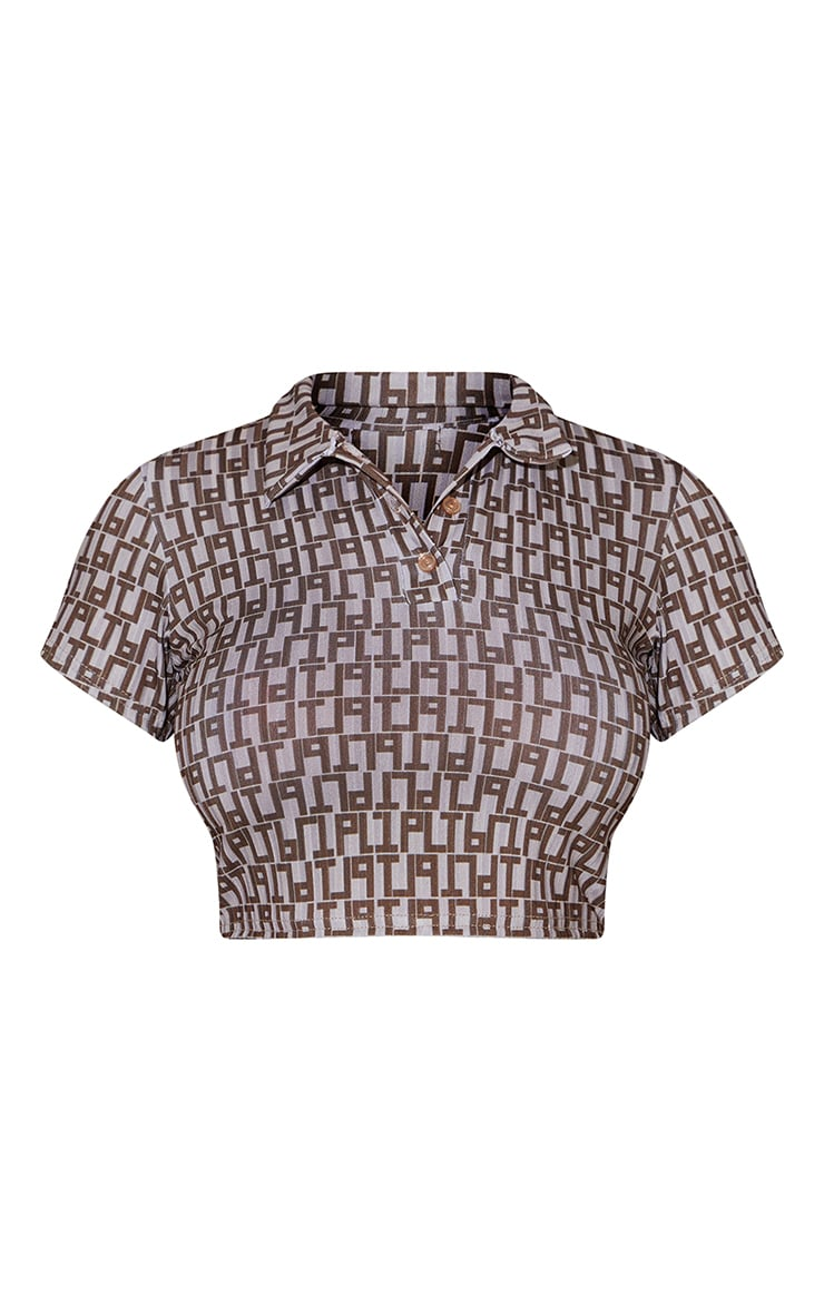 PRETTYLITTLETHING Chocolate Monogram Rib Crop Polo Shirt 5