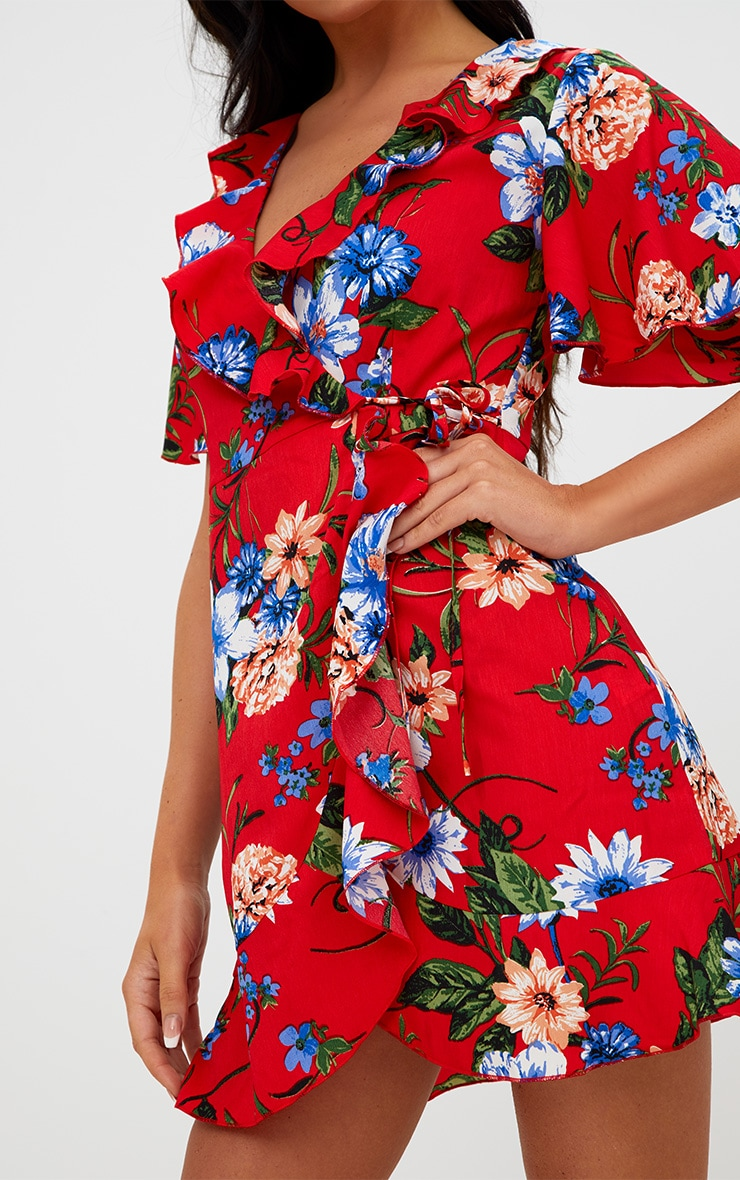 Red Floral Wrap Dress 5