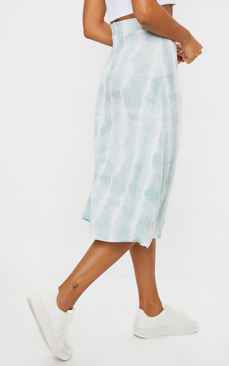 Teal Tie Dye Floaty Midi Skirt 3