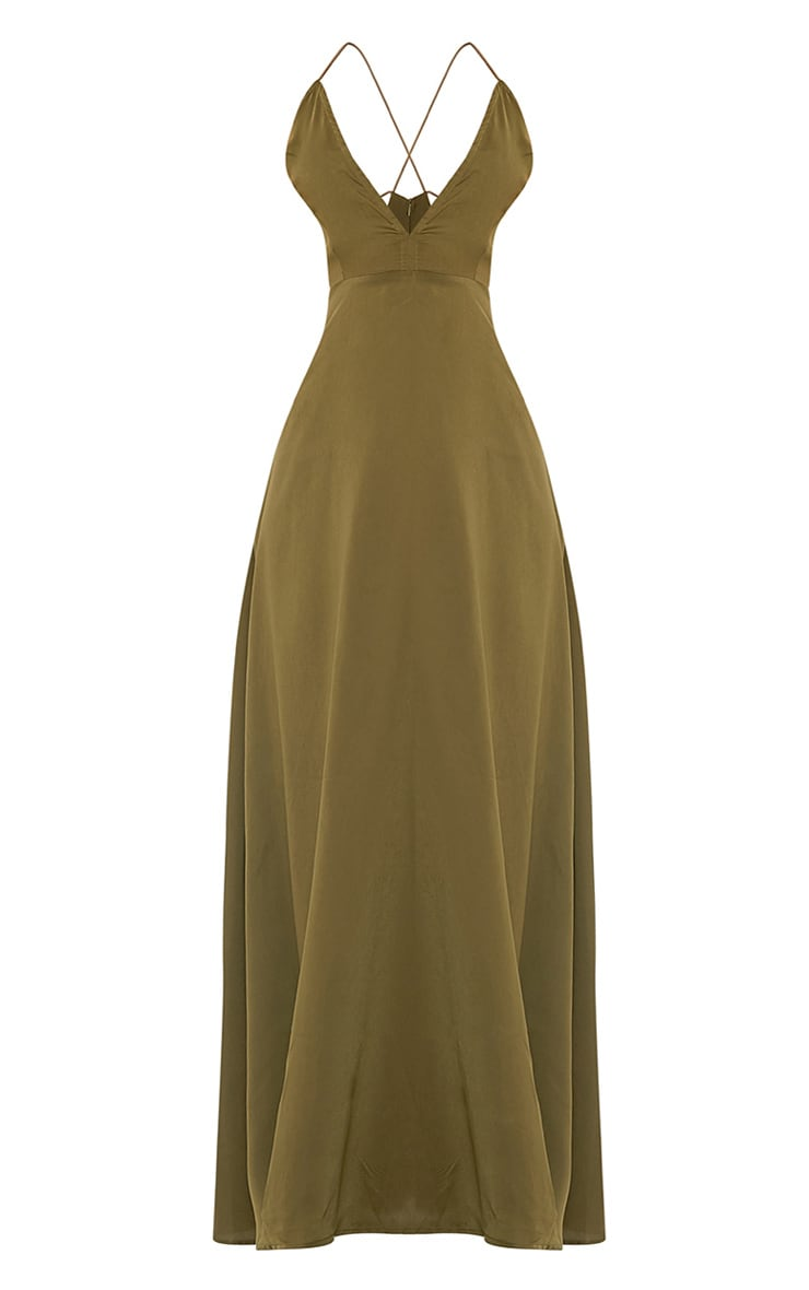 Beccie Khaki Extreme Split Strappy Back Maxi Dress 3