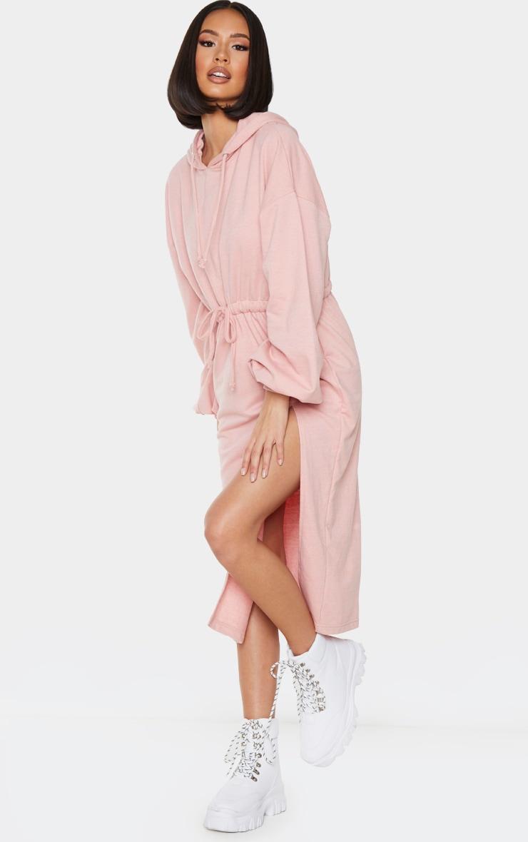 Blush Sweat Hoodie Split Midi Dress 1
