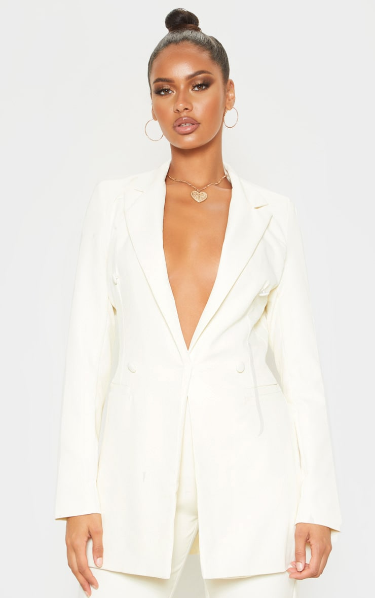 Cream Double Breasted Woven Blazer 1