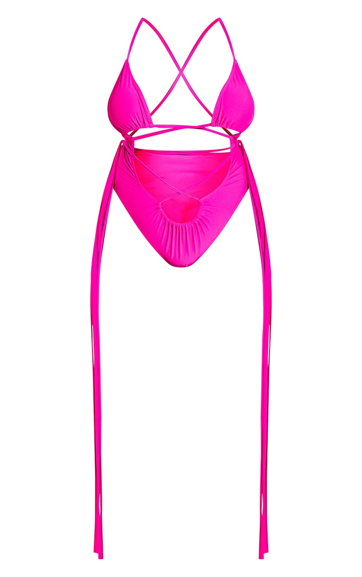 Plus Hot Pink Wrapped Strappy Tassel Side Swimsuit 8