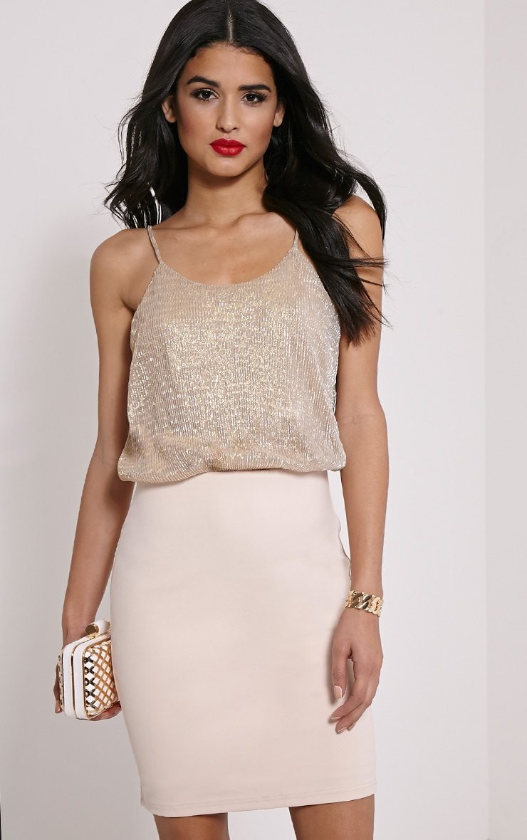 Blaine Beige Metallic Top Bodycon Dress 4