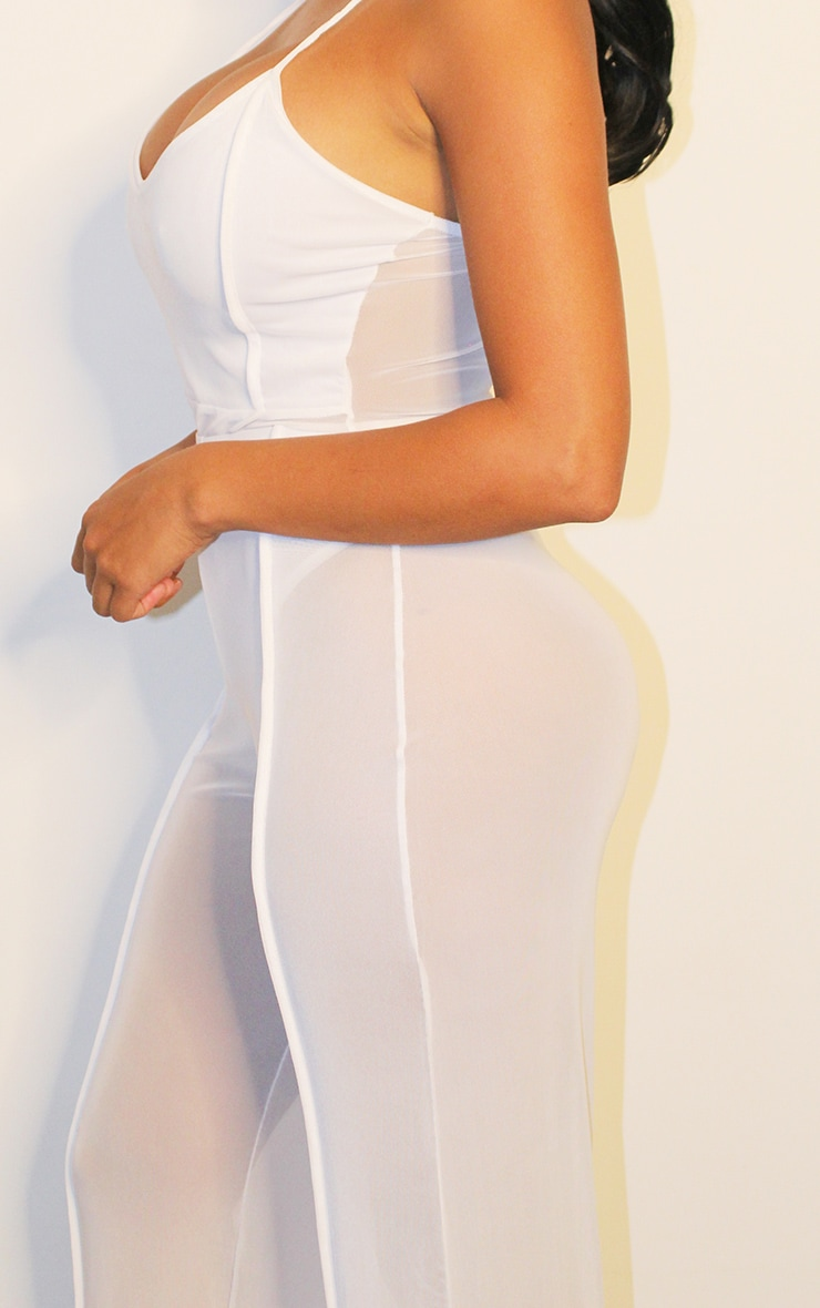 Shape White Mesh Binding Detail Wide Leg Trousers 3