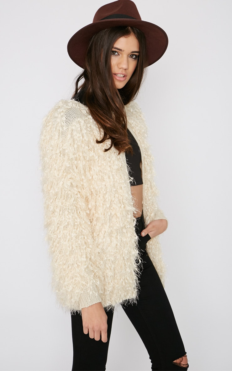 Naima Cream Shaggy Knitted Jacket 4