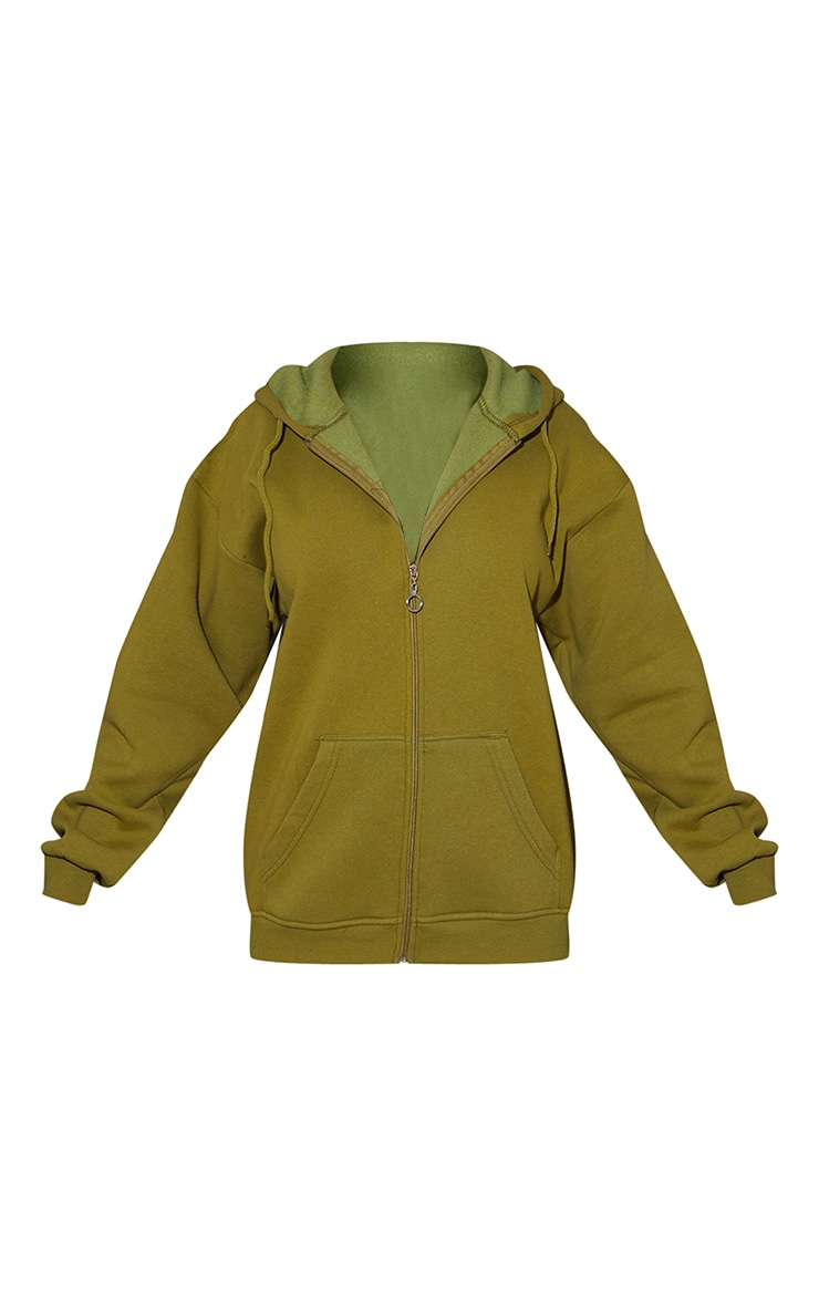 Olive Green Extreme Oversized Pocket Front Zip Through Hoodie 5