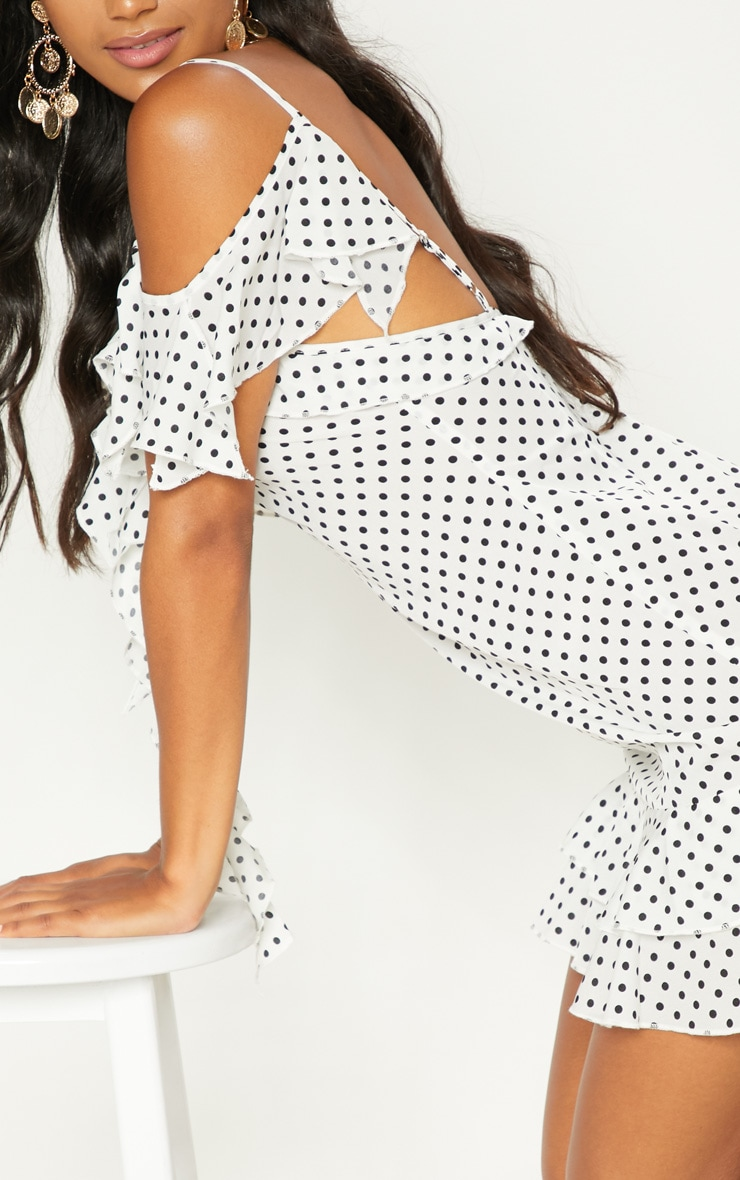 White Polka Dot Frill Cold Shoulder Bodycon Dress 5
