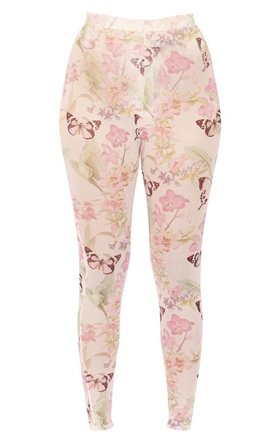 Petite Pink Butterfly Print Mesh Leggings 4
