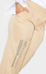 PRETTYLITTLETHING Plus Stone Pinstripe Asymetric Waist Wide Leg Pants 4