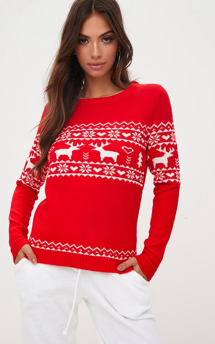 Red Fairisle Reindeer Christmas Jumper 1