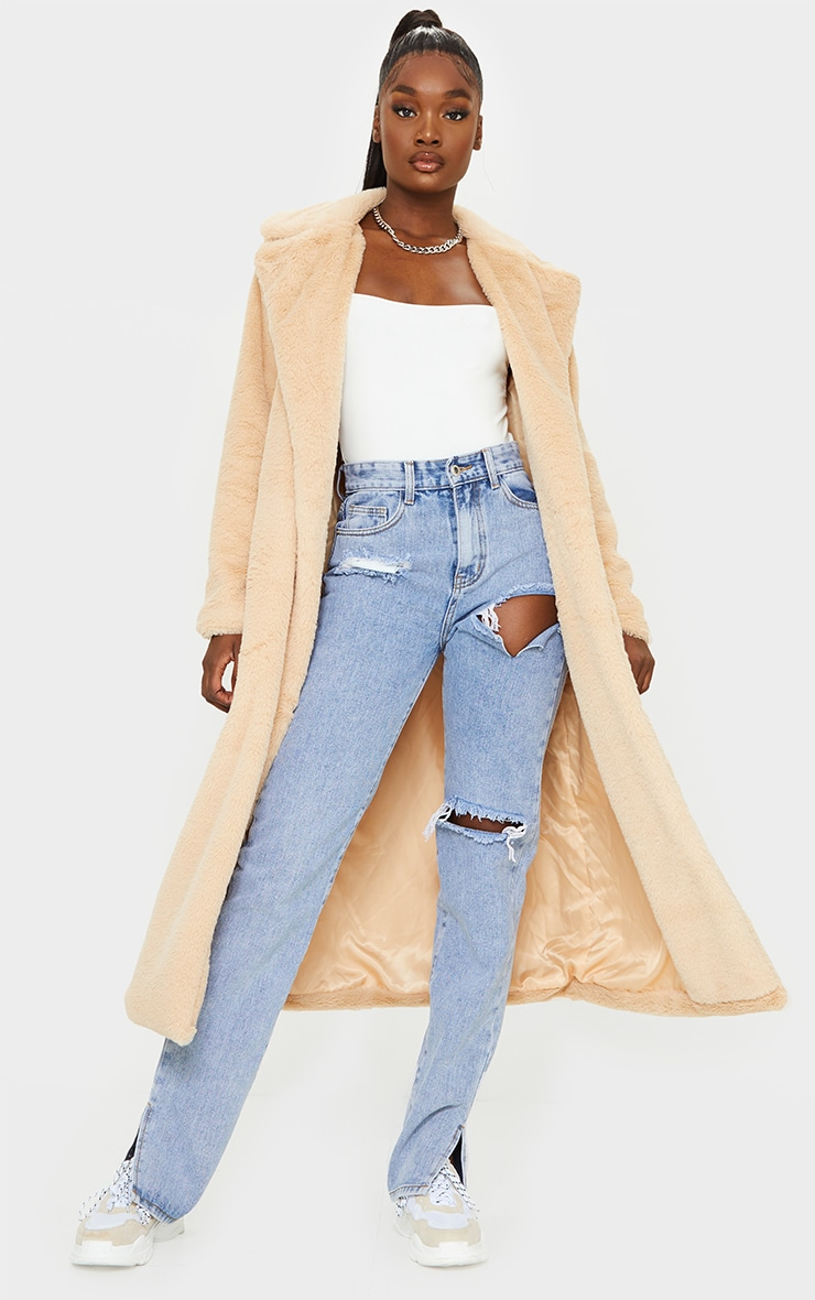 Tall Taupe Belted Faux Fur Coat 1