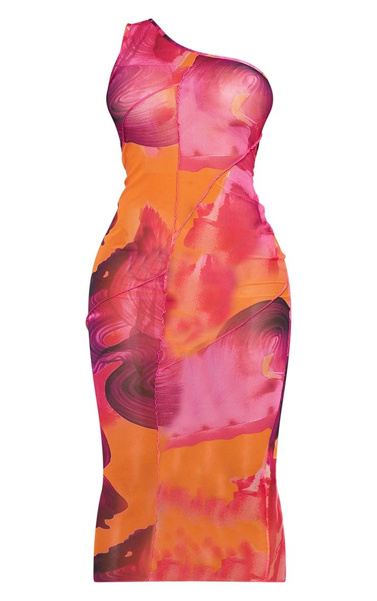 Shape Pink Swirl Print Sheer Mesh Overlock One Shoulder Midi Dress 5