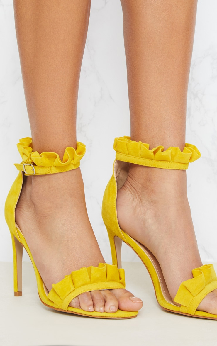 Bright Yellow Frill Strap Heels 5
