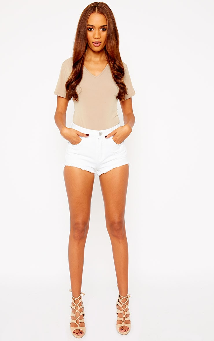 Lor White Frayed Denim Shorts 5