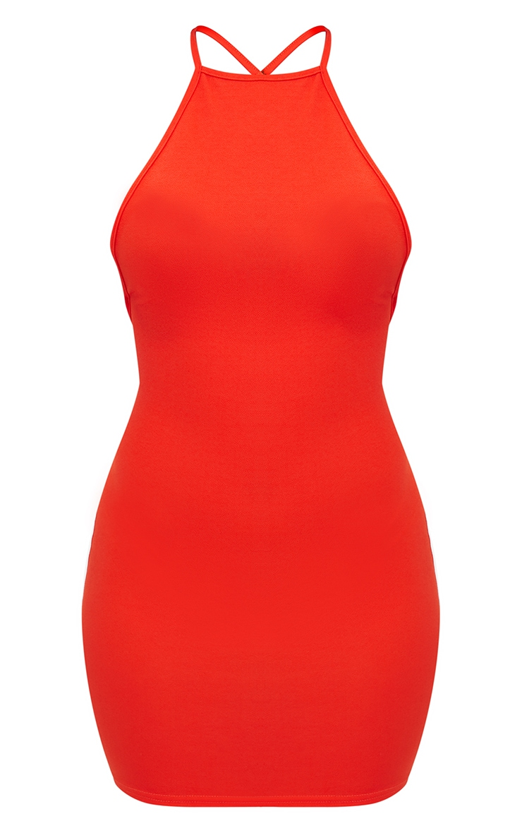 Tomato Red High Straight Neck Strappy Back Bodycon Dress 3