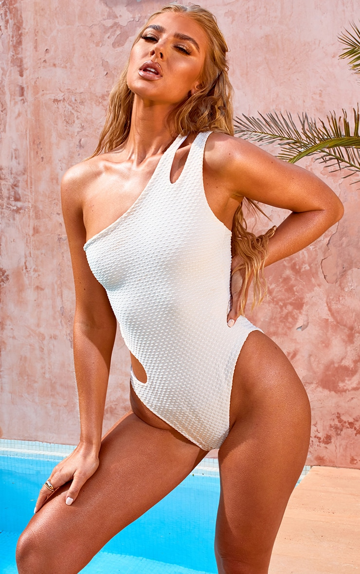 Nude Waffle Texture Cut Out Swimsuit