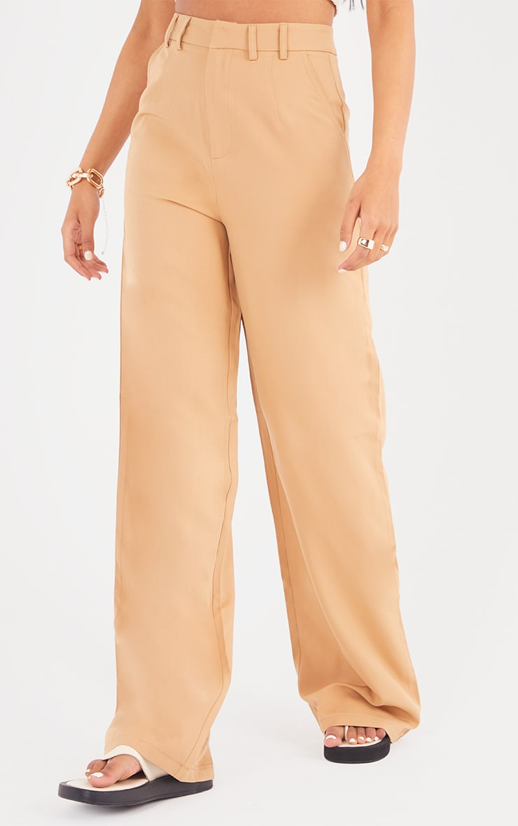 Tall Camel Wide Leg Dad Trouser 2