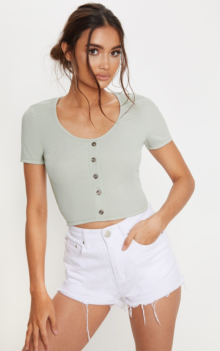 Mint Rib Button Front Crop Top 2
