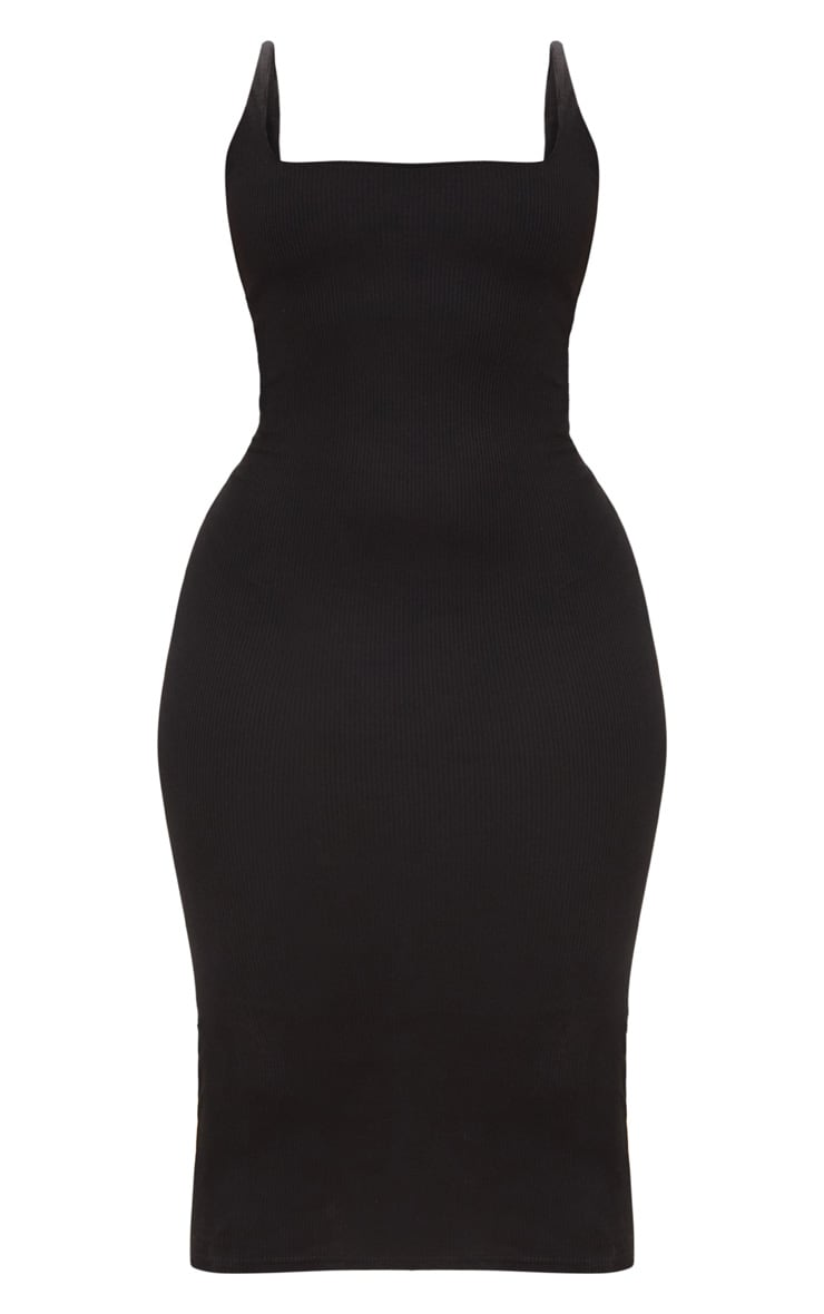 Plus Black Ribbed Square Neck Midi Dress 3