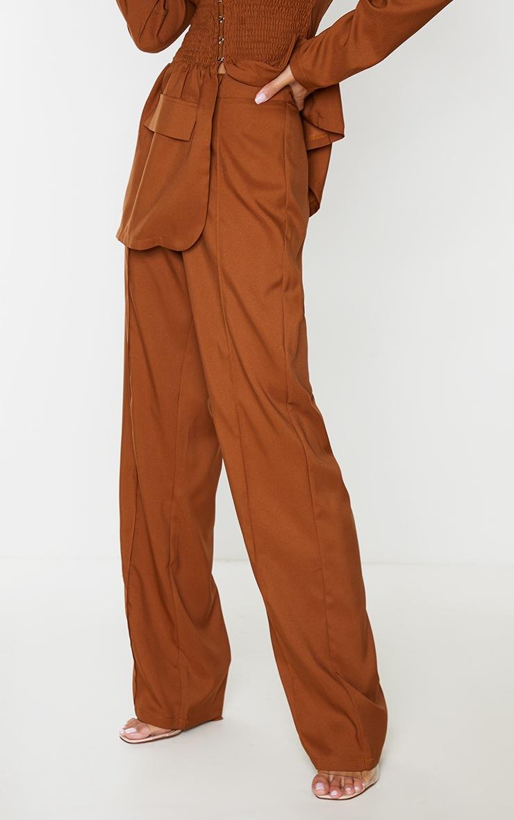 Tan Seam Front High Waist Wide Leg Trousers 3
