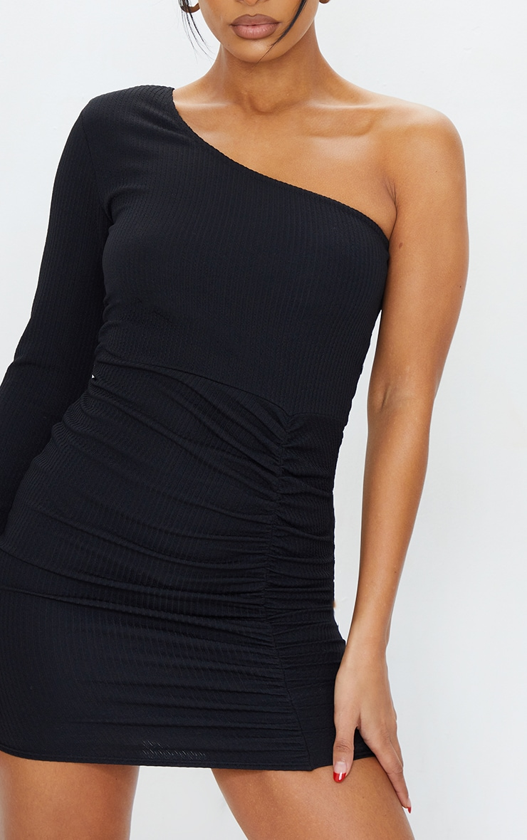 Black Ribbed One Shoulder Ruched Bodycon Dress 4