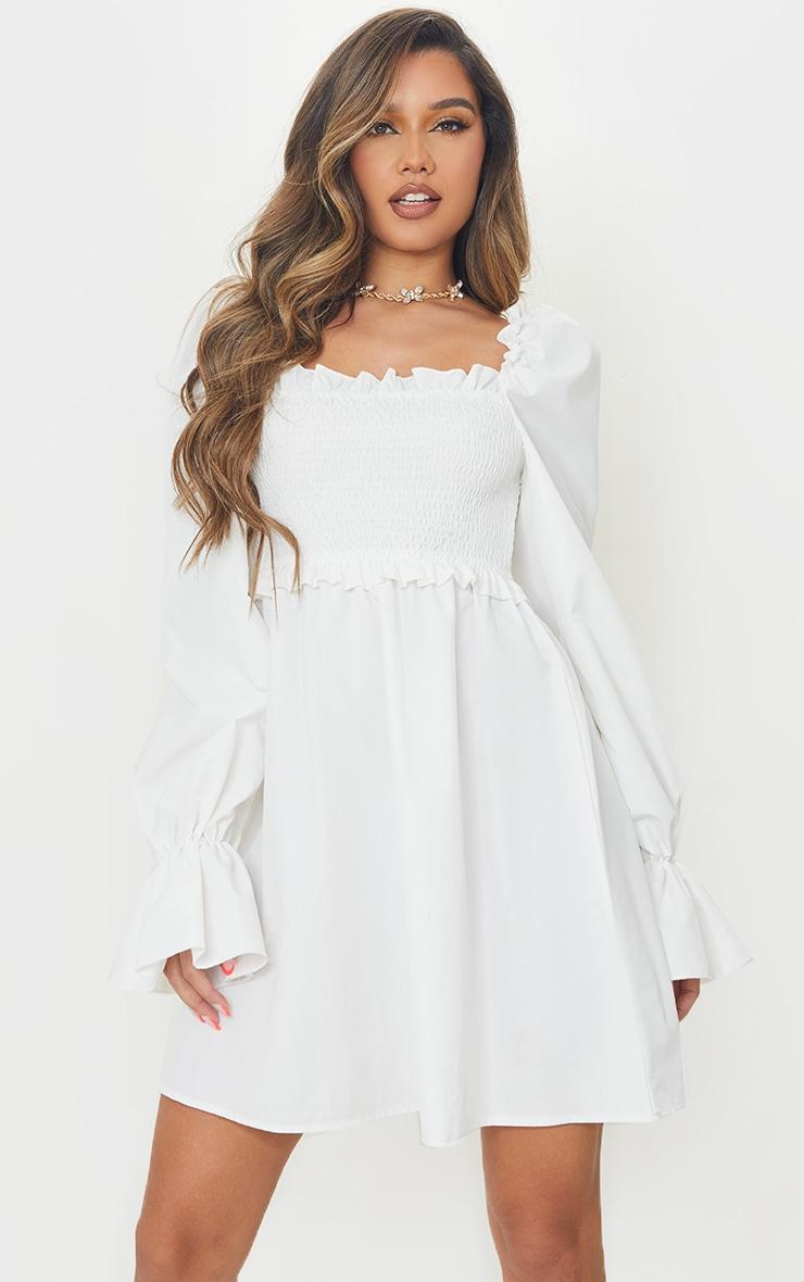 White Woven Shirred Frill Detail Square Neck Shift Dress