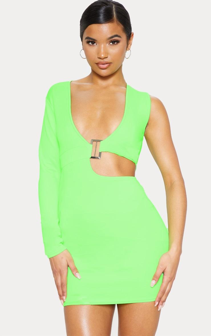 c0efa2baf3a Robe moulante vert fluo à manche unique et décolleté plongeant à boucle  image 1