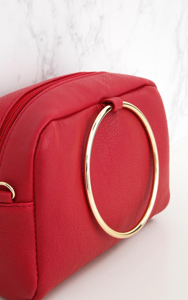 Sac épaule à poignée anneau métallique rouge 3