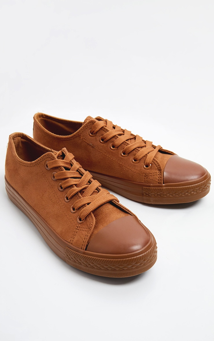 Camel Faux Suede Lace Up Sneakers 3